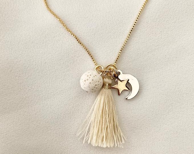 Aromatherapy lava rock tassel gold necklace