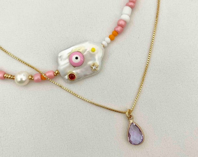 Beaded pink Evil eye necklace set