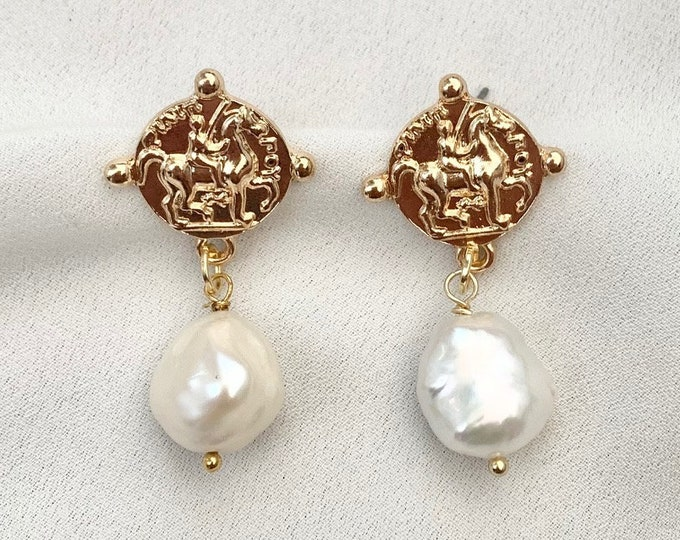 Baroque pearl gold medallion earrings