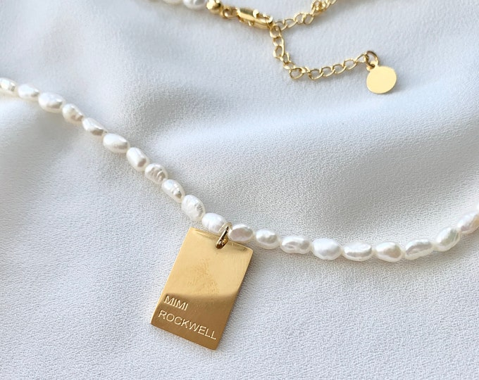 Freshwater pearl Mimi Rockwell tag necklace