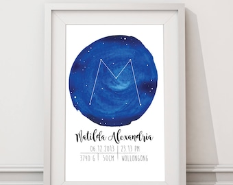 Constellation birth announcement wall art / name poster / baby name / birth stats print / baby birth poster / name print / name art nursery