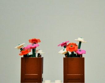 New Genuine LEGO Pink Flowers in Dark Brown Barrel Planter