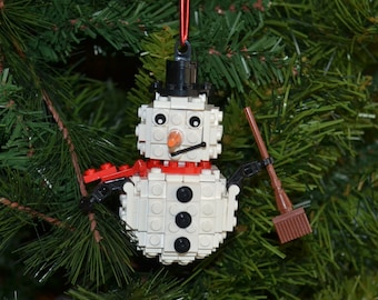 3D Snowman Christmas Ornament with Instructions - Build Your Own with LEGO bricks!