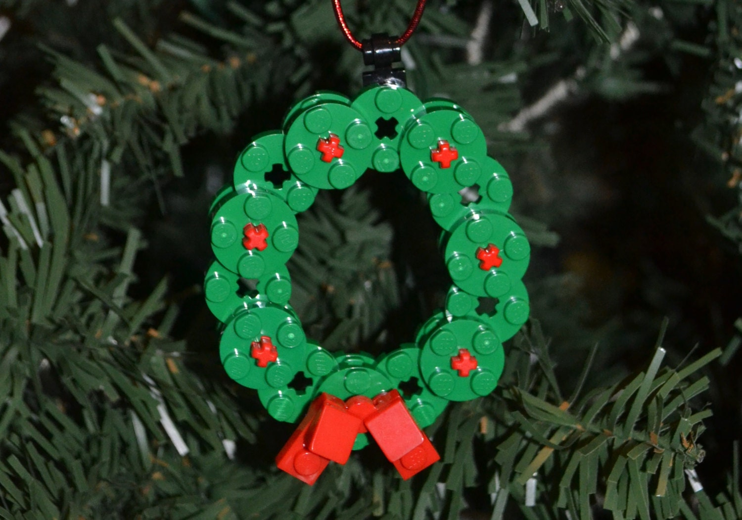Lego Wreath Christmas Ornament With Instructions Build Your Etsy
