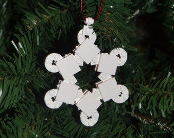 LEGO Snowflake Christmas Ornament with instructions - Build Your Own!