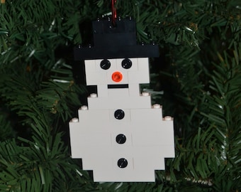 LEGO Snowman Christmas Ornament with instructions - Build Your Own!