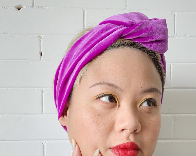 Ultra Violet Signe- Adjustable Velvet Headwrap