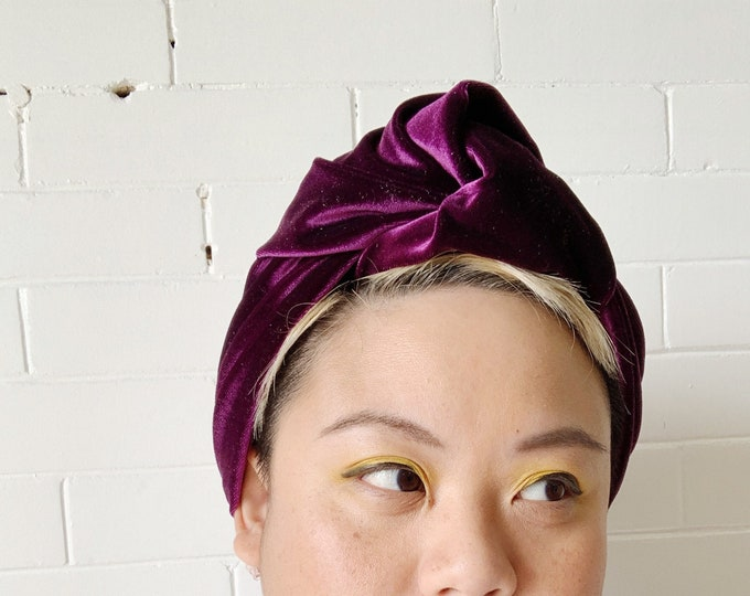 Plum Signe- Adjustable Velvet Headwrap