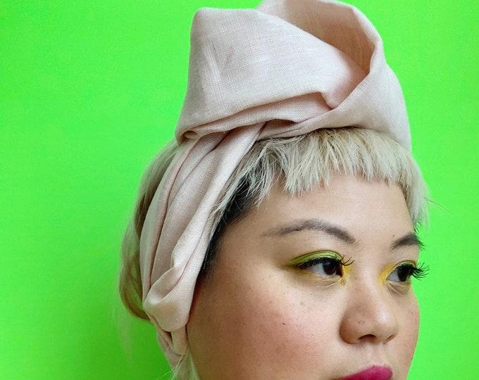 The Miri- Blush pink linen head wrap, headband