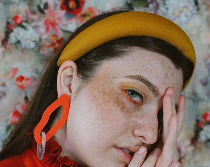 Blair in Turmeric, padded headband, statement headband, headband crown