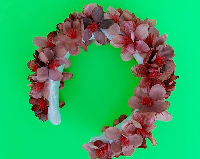 Masha, silk floral padded headband