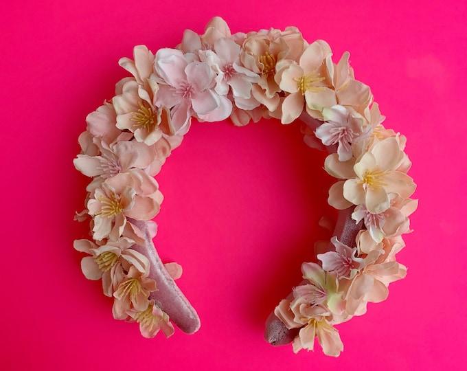 Hana, silk floral padded headband