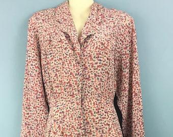 WAREHOUSE vintage pink ditsy tea dress UK 16 Button up Landgirl