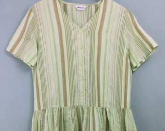 DAMART vintage green striped crisp cotton tea dress 14/16 Short sleeves