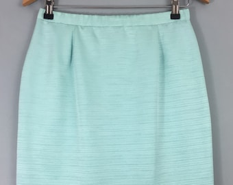 GINA BACCONI vintage turquoise fitted skirt 14 Lined