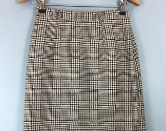 76c854af2 Vintage tweed check fitted pencil skirt 10/12 Midi Wool blend Dorothy  Perkins