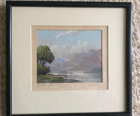 Robert Leslie Howey Small Pastel Painting Keswick Lake Etsy