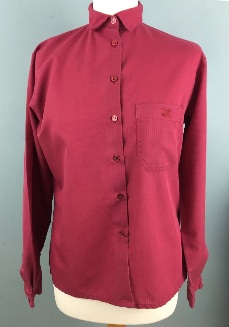 c8b0bc73efe22a Jaeger vintage red shirt 10 12 Polycotton Long sleeves   Etsy