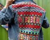 Customised denim jacket embroidered jacket retro denim 90s style festival style