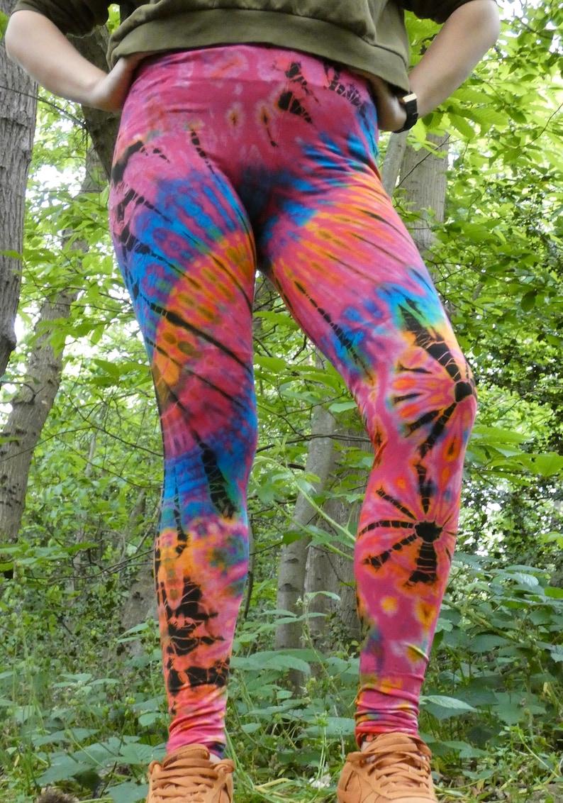 funky leggings festival clothing SMALL long Tie dye leggings pink leggings colourful leggings