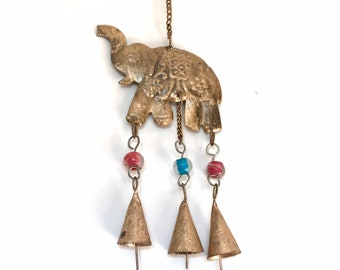Hanging brass elephant | brass wind chime | boho decor | wall decor