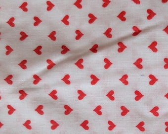 Vintage Cotton Red Hearts Fabric For Quilting Sewing Crafting Valentines Day Fun!
