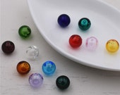 12pieces Coloured glaze ball beads Diffuser Perfume Refillable Essential Oil vial Pendant Necklace, jewelry make findings - only glass vials