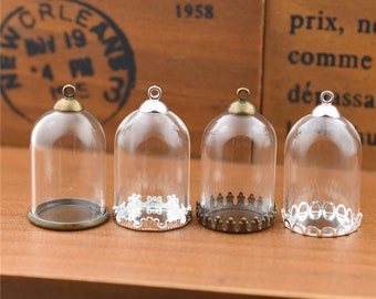5pieces 30x20mm bell jar glass globe with findings set, glass vial pendant glass vial empty glass dome glass locket