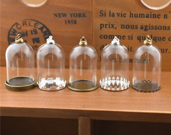 4sets/lot 38*25mm tube glass dome bottles with metal findings set 9 designs choose glass vial pendant glass globe jewelry findings supply