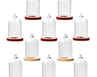 5sets 38*25mm Tube Glass bottle clear Glass bell jar with wood base , Glass vial pendant Glass dome cover Jewelry making supply