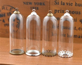 5pieces 50x18mm Bell Jar Glass Globe with findings, Glass Vial Pendant Glass dome Tube Glass locket