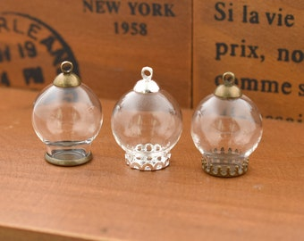 5set 20*12mm Empty Glass Globe bottle Glass dome Glass vial pendant Jewelry Findings Key-Chain Charms DIY