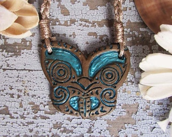 Maori necklace - maori pendant- New Zealand necklace - polymer clay jewelry - blue pendant -gift for her - hand sculpted - blue jewelry