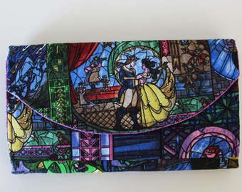 Disney Beauty and the Beast Quilted Necessary Clutch Wallet with 10 card slots and zipper pockets NCW EDC