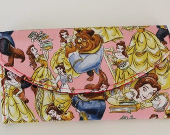 Disney Beauty and the Beast Quilted Accordion Wallet with 10 card slots and zipper pockets EDC NCW