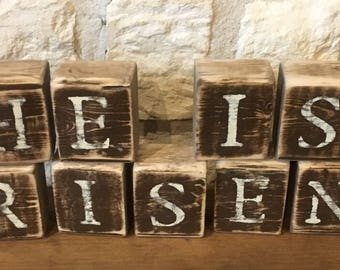 HE IS RISEN Rustic Wood Blocks-Easter Decor-Religious Easter Decorations