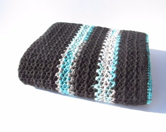 Crocheted Throw in Black and Multi-Colored Stripes-Crocheted Afghan