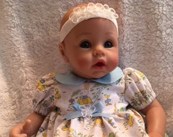"""15/"""" Baby Doll Clothes fits Bitty Navy Blue Purple Polka Dot Smocked Fall Dress"""