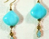 Jewelry Set Peruvian Blue Opal Teardrops, Vint Jonquil Cryst Aqua Sabrina Glass Navette Drops, Gld-Pl Hex Beads, Etched Bronze Cable Chain