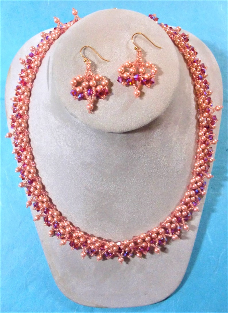 893b26156 Jewelry Set: Swarovski Rose Peach Crystal Pearls Rose Peach | Etsy