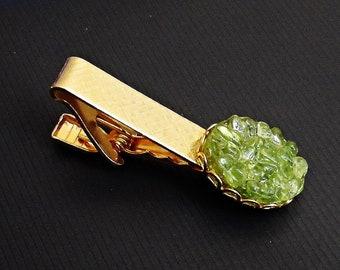 Green /& Gold Tie Clip Vintage Metallic Glitter Green Stone Men/'s Accessories Add On 7WW