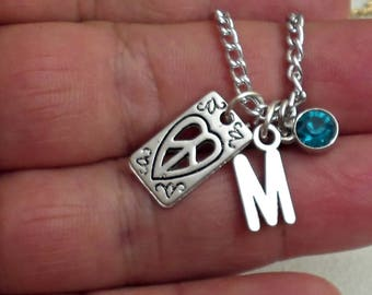 Great Design PEACE SIGN  personalized  initial Necklace With Personalized Birthstone  /NE11