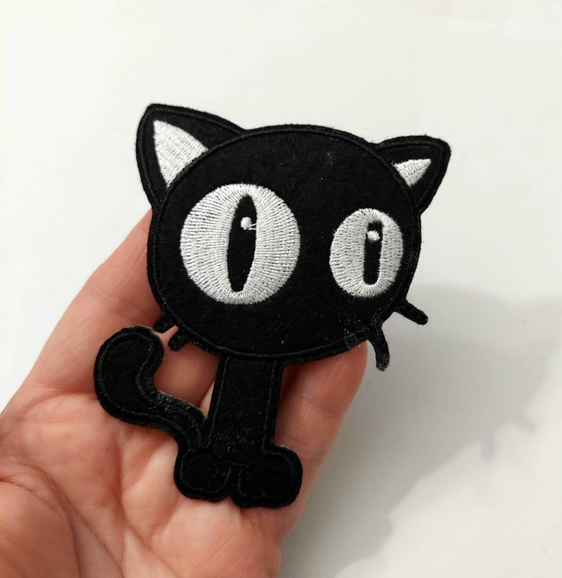 Black Cat  Patch Iron On Patch Embroidered Patch Jacket Patch Clothes Patch Applique mask patch   85