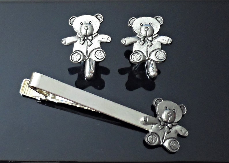 TeddyBear  Tie Clip and  Cufflinks cuff links set E61