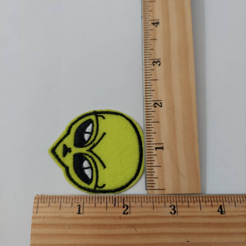 Yellow green alien  Iron on  Patch Embroidered Patch Jacket Patch Clothes Patch Applique mask patch   50