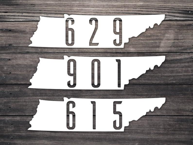 Tennessee Area Code Decal / Memphis 901 / Nashville 615 629 / Tennessee  Home / 423 / 865 / 931 / 731 / 219 / 456 / Laptop Vinyl Sticker