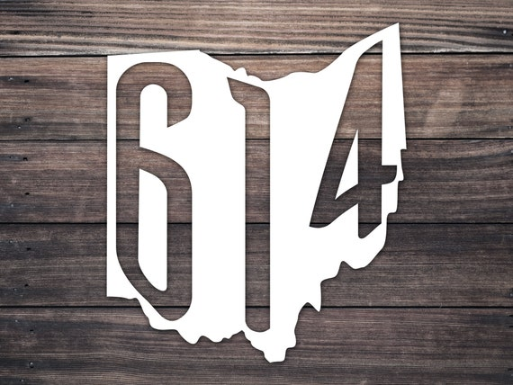 614 Area Code Decal Ohio Home Roots 5 wide 3 tall OH Decal Car Laptop Vinyl Sticker Columbus Ohio Decal Area Code 614