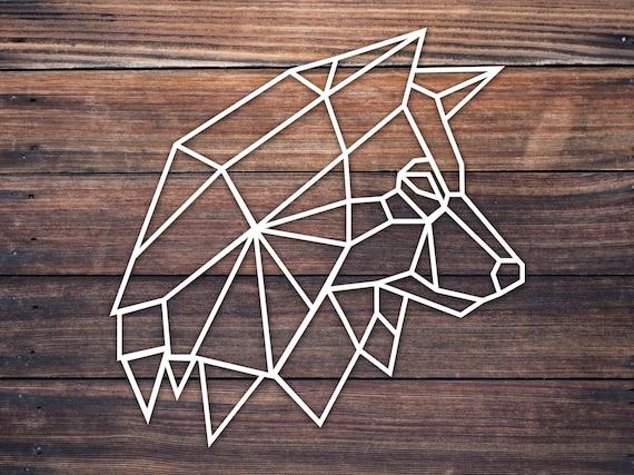 Geometric Origami Husky Wolf Head Outline Decal Sticker Etsy