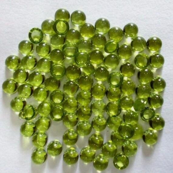10 pieces natural peridot round shape cabochon gemstone
