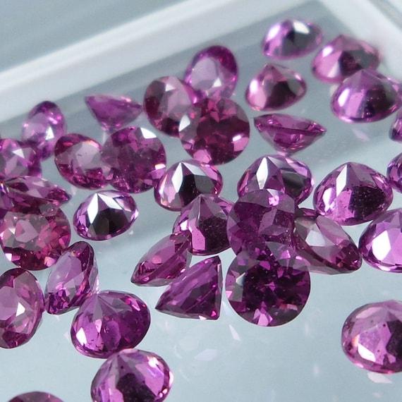 Wholesale Lot of 2mm Round Faceted Rhodolite Garnet Loose Calibrated Gemstone
